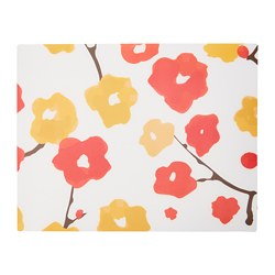 LYCKSALIG place mat, red, flowers