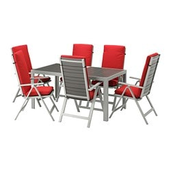 SJÄLLAND table + 6 reclining chairs, outdoor, dark gray, Frösön/Duvholmen red