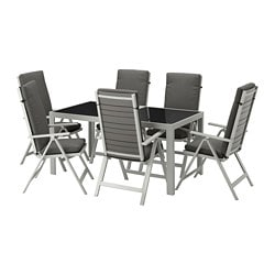 SJÄLLAND table + 6 reclining chairs, outdoor, glass, Frösön/Duvholmen dark gray