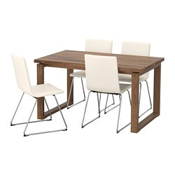 MÖRBYLÅNGA /  VOLFGANG table and 4 chairs, brown, Bomstad white