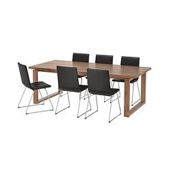 MÖRBYLÅNGA /  VOLFGANG table and 6 chairs, brown, Bomstad black