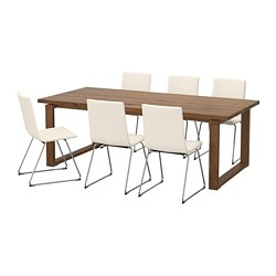 MÖRBYLÅNGA /  VOLFGANG table and 6 chairs, brown, Bomstad white