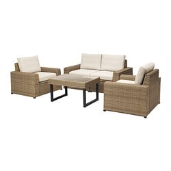 SOLLERÖN 4-seat conversation set, outdoor, brown, Frösön/Duvholmen beige