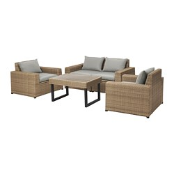 SOLLERÖN 4-seat conversation set, outdoor, brown, Hållö gray