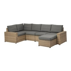 SOLLERÖN 5-seat sectional + stool, outdoor, brown, Frösön/Duvholmen dark gray