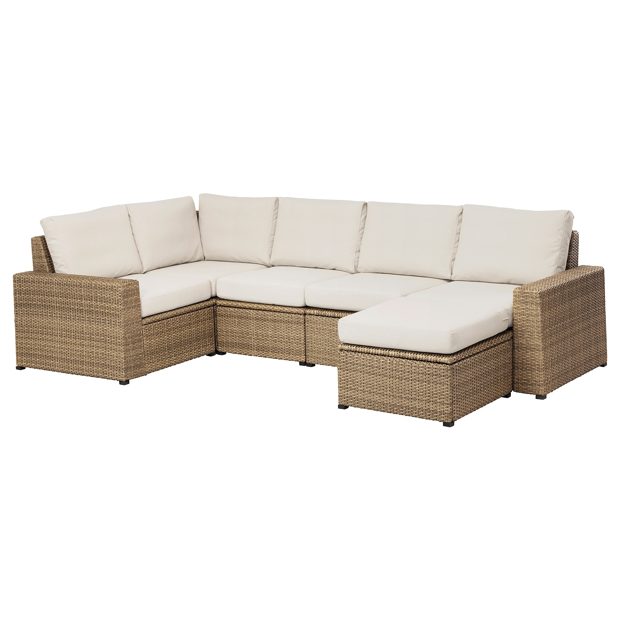 SollerÖn Modular Corner Sofa 4 Seat Outdoor With Footstool Brown Frösön Duvholmen Beige