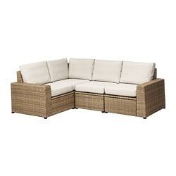 SOLLERÖN 4-seat sectional, outdoor, brown, Frösön/Duvholmen beige