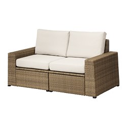 SOLLERÖN loveseat, outdoor, brown, Frösön/Duvholmen beige