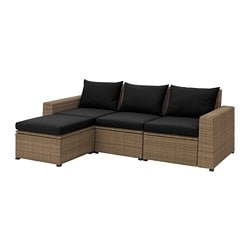 SOLLERÖN sofa with footstool, outdoor, brown, Hållö black