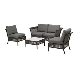KUNGSHOLMEN 4-seat conversation set, outdoor, black-brown, Frösön/Duvholmen dark gray