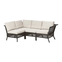 KUNGSHOLMEN 4-seat sectional, outdoor, black-brown, Frösön/Duvholmen beige