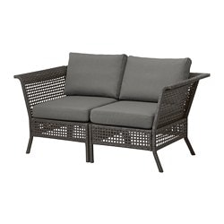 KUNGSHOLMEN loveseat, outdoor, black-brown, Frösön/Duvholmen dark gray