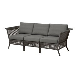 KUNGSHOLMEN sofa, outdoor, black-brown, Frösön/Duvholmen dark gray