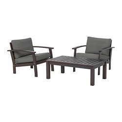 KLÖVEN conversation set, outdoor, brown stained, Frösön/Duvholmen dark gray