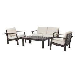 KLÖVEN 4-seat conversation set, outdoor, brown stained, Frösön/Duvholmen beige