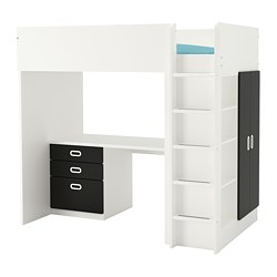 STUVA /  FRITIDS loft bed with 3 drawers/2 doors, white, blackboard surface
