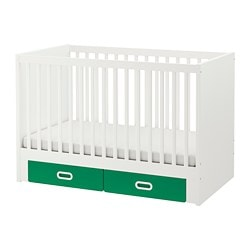 STUVA / FRITIDS, Cot with drawers, green