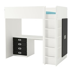 STUVA /  FRITIDS loft bed with 4 drawers/2 doors, white, blackboard surface