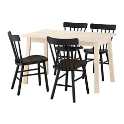 "NORRÅKER /  NORRARYD table and 4 chairs, white birch, black Length: 49 1/4 "" Width: 29 1/8 "" Height: 29 1/8 "" Length: 125 cm Width: 74 cm Height: 74 cm"