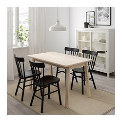 NORRÅKER / NORRARYD Table And 4 Chairs, White Birch, Black