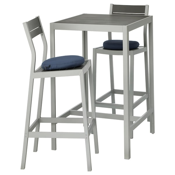 Surprising Bar Table And 2 Bar Stools Outdoor Sjalland Dark Grey Froson Duvholmen Blue Squirreltailoven Fun Painted Chair Ideas Images Squirreltailovenorg