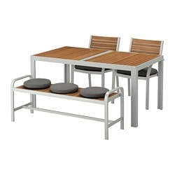 SJÄLLAND table, 2 chairs and bench, outdoor, light brown, Frösön/Duvholmen dark gray