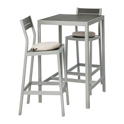 SJÄLLAND bar table and 2 bar stools, outdoor, dark gray, Frösön/Duvholmen beige