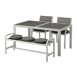 SJÄLLAND table, 2 chairs and bench, outdoor, dark gray, Frösön/Duvholmen dark gray