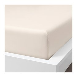 SÖMNTUTA fitted sheet, light beige
