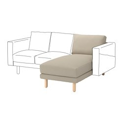 NORSBORG chaise longue section, Edum beige, birch