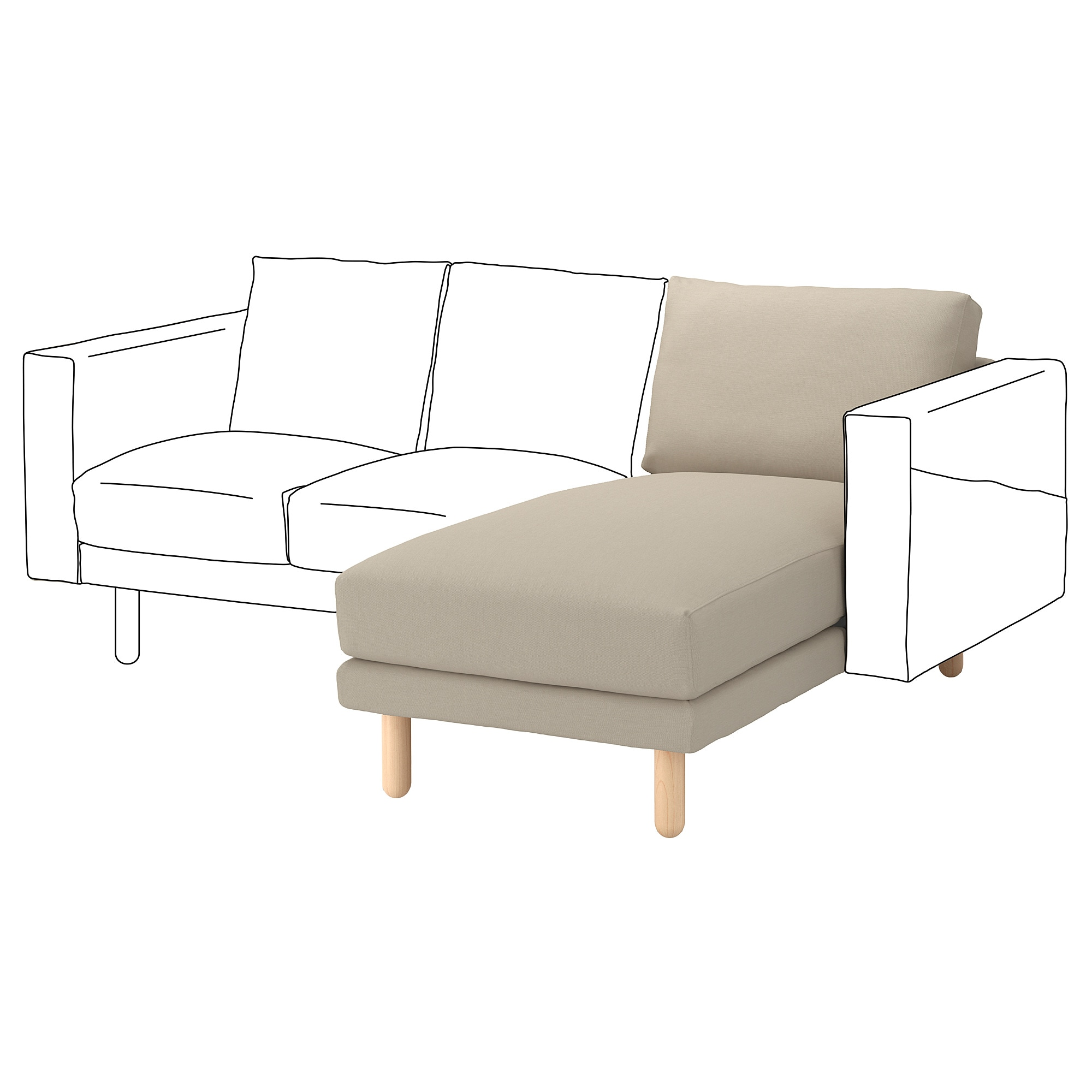 NORSBORG chaise section  Edum beige  birch Width  43 1 4   Depth. Sectional Sofas   Couches   IKEA