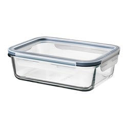 IKEA 365+ food container with lid, rectangular glass, plastic glass