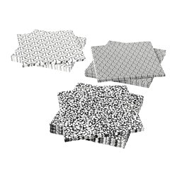 VÅRKUL paper napkin, black/white, assorted patterns