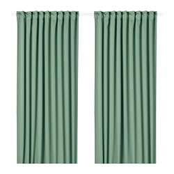 MAJGULL block-out curtains, 1 pair, green