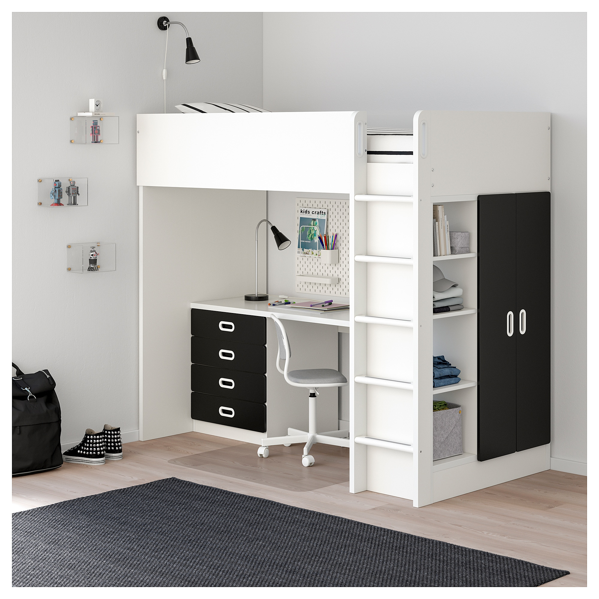 Stapelbed Ikea 80 X 200.Loft Bed Combo W 4 Drawers 2 Doors Stuva Fritids White Blackboard Surface