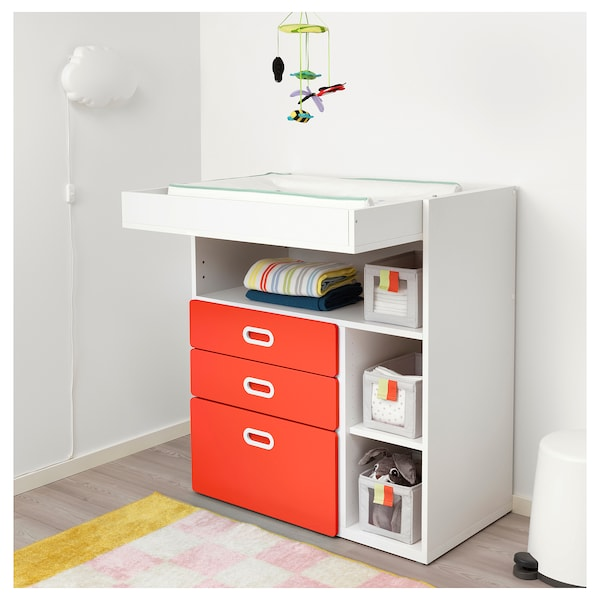 1a6b658702b7 STUVA / FRITIDS Changing table with drawers - white, red - IKEA
