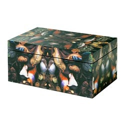 FÖREMÅL box with lid, black, birds
