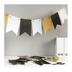 VINTER 2018 garland flags, gold/silver-colour, black/white