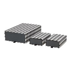 SAMMANHANG box, set of 3, black, white