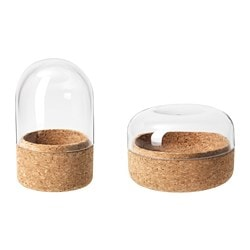 SAMMANHANG, Glass dome with base, set of 2, clear glass, cork