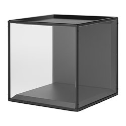 SAMMANHANG, Display box with lid, black, glass