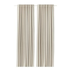VILBORG curtains, 1 pair, beige
