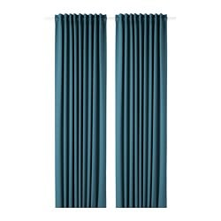 MAJGULL block-out curtains, 1 pair, blue-green
