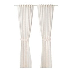 LATTJO curtains with tie-backs, 1 pair, dotted, white pink