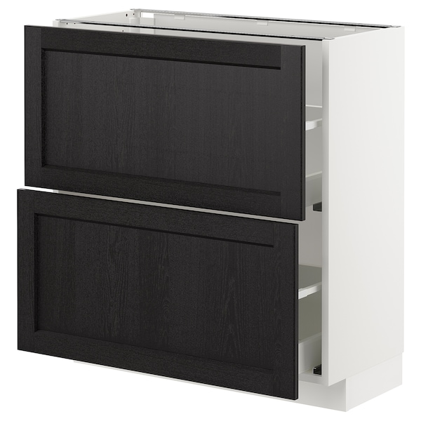 Base Cabinet With 2 Drawers Metod White Maximera Lerhyttan Black Stained
