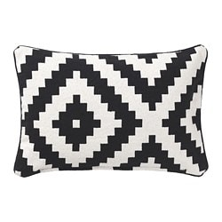 LAPPLJUNG RUTA cushion cover, white, black