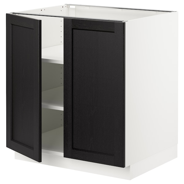 Sektion Base Cabinet With Shelves 2 Doors White Lerhyttan Black Stained