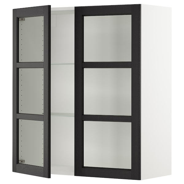 Sektion Wall Cabinet With 2 Glass Doors White Lerhyttan Black Stained