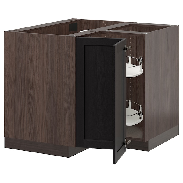 Sektion Corner Base Cabinet With Carousel Brown Lerhyttan Black Stained