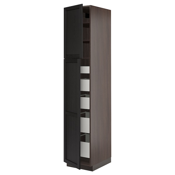 SEKTION High cabinet w/2 doors & 5 drawers, brown Maximera, Lerhyttan black  stained